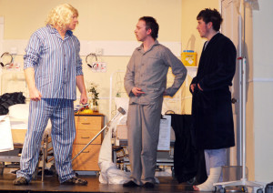 Athea Drama Group members: Tony Halpin, Damien Ahern and Jack Denihan adding to the mayhem on stage during the Sam Cree penned 'Stop it Nurse'