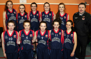 The Presentation Castleisland team and coach, Tommy Dom O'Connor pictured during Saturday's U-16 Basketball Cadette Play-off at Castleisland Community Centre. Included are front from left: Gillian Hanifin, Andrea Murphy, Kate Horan, Fiona Nelligan and Michaela Breen. Back row: Ciara Murphy, Molly O'Callaghan, Ellen Sheehan, Therese Healy, Kerry McCarthy and Coach O'Connor. ©Photograph: John Reidy