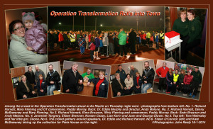 Among the crowd at the Operation Transformation shoot at An Riocht on Thursday night were - photographs from bottom left: No. 1. Richard Harnett, Mary Fleming and OT cameraman, Paddy Murray. Back: Dr. Eddie Murphy and director, Andy Malone. No. 2. Richard Harnett, Denny McSweeney and Mary Fleming. No 3. Richard Harnett, Elma Brosnan, mary Fleming and cameraman, Paddy Murray. Back: Seán Brosnan and Andy Malone. No. 4. Jeremiah Tangney, Eileen Brennan, Noreen Casey, Lisa Kerin and Joan and George Glover. No 5. Top left: Tara Walmsley and her little girl, Cliona. No 6. The crowd gathers around speakers, Dr. Eddie and Richard Harnett. No 6. Eileen O'Connor (left) and Kate McSweeney taking up the collection for Pieta House on the night. ©Photographs: John Reidy 16-1-2014