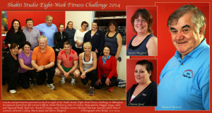 Coaches and participants pictured on the first night of the Shakti Studio Eight-Week Fitness Challenge in Abbeyfeale. Included are front from left: Carmel Clifford, Sheila McEnery, John O' Connor, Enda Galvin, Maggie Large, coach and Mariead Doyle.Back row : Breda O' Grady, coach; Brendan Sexton, Richard Harnett, Karena Cahill, Rita O' Connell, Catherine Culloty, Maria Goad and Karen Playford.  ©Photograph: John Reidy