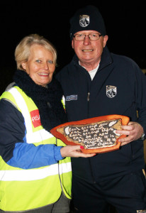 Operation Transformation's Kerry star, Paudie O'Mahoney being presented with a token of inspiration and support by Kate Walsh of The Rock Library during his visit to An Riocht AC on Thursday night. ©Photograph: John Reidy