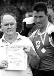 The late boxing trainer, Tom McCarthy with Ted Clifford from Currow  - one of his Irish champions back in July of 1996.  ©Photograph: John Reidy  04/07/1996