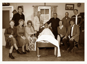Sliabh Luachra Drama Group members pictured during a dress rehearsal for their production 'Wake in The West recently. Included are front: Catriona Hickey, Geraldine O'Driscoll, Moira O'Connor, Thade Hickey, Nora Walsh and Seán McGuire, director; Back from left: John Walsh, Tim Dineen, Dermot O'Leary, Vincent Salmon and Danny O'Leary. ©Photograph: John Reidy