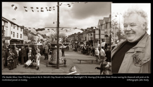 The Market House View: The busy scene at the St. Patrick's Day Parade in Castleisland. And (right) The Wearing of the Green: Denis Devane wearing his Shamrock with pride at the 2013 Castleisland Parade ©Photographs: John Reidy