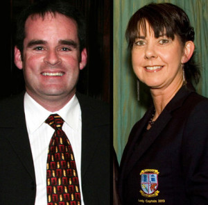 Denis O'Donovan and Liz Galwey with the results & Fixtures from Castleisland Golf Club