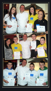 The certificate presentation pictures of nine young people from the Castleisland KDYS who took part in a three session 'Introduction to Cookery' programme under the care of Chef Mark Doe with KDYS leader, Helena Falvey.  Top: Violet Feehan, Mark Doe, Lucy Baker and Shannen Doherty.  Centre: Helena Falvey, Denis McAuliffe, Mark Doe, Damien Feehan and Dominic Prendiville. Bottom: Ryan Broderick, Mark Doe, Kenneth O' Connor and Jason Keane. Photographs Courtesy of Helena Falvey