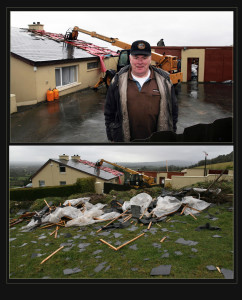 Martin Murphy pictured outside his home in Laccabawn as repair work gets under way. Below: the remains of the roof with concrete barges dropped inside a ditch, across the road. ©Photographs: John Reidy