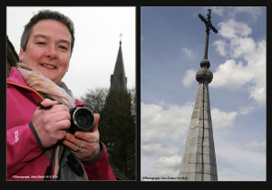 Nora Fealey and her camera with which she brought the images featured here from close to the 170 foot high spire of the church.
