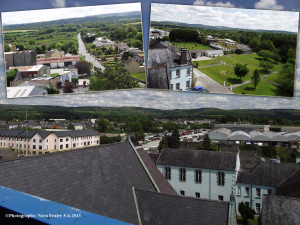 The wing of the church buildings pointing out towards the Presentation Convent, the mart yard  and the apartment building in Creamery Lane. Insets (top left) The road to Scartaglin from the Rhyno Mills out. (Top right) The corner of the convent buil;dings looking out on 'The Nuns' Garden' and down to Muire Gan Smál primary school.