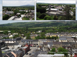 The top of Church Street to Main Street. You can see the corner of the roof of LIDL and Pound Road heading to the Maam. Insets (top left) A view over Barrack Street and Killarney Road with the castle peeping up on the right of the picture. (top right) Overlooking the fire station and Rhyno Mills on Church Street.