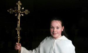 Kilmurry National School pupil, Siobhán O'Donoghue was chosen as Cross-bearer for the opening procession of the Castleisland Parish Mission on Sunday evening. ©Photographs: John Reidy