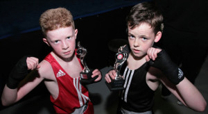 Mike McCarthy, Tralee Boxing Club (left) and Johnny Kennelly, Ballyduff Boxing Club pictured after their Sliabh Luachra Boxing Club Tournament bout on Saturday night. ©Photograph: John Reidy