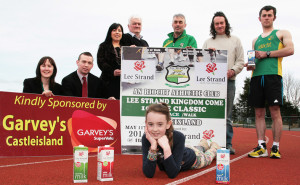 At the announcement of details of the third annual An Ríocht AC / Lee Strand Kingdom Come 10 Mile Classic Road Race and 5K Race / Walk at An Riocht AC on Friday afternoon were: Katelyn Brennan (front) with: Margaret Ryan and Neilus Lyons, Garvey's SuperValu, Castleisland: Teresa Walker, Marketing Manager, Lee Strand; Joe Walsh, Founder Member, An Riocht AC; Denny McSweeney, Manager, An Riocht AC; John Lenihan, An Riocht AC and former World Hill Running Champion and Martin Dineen, An Riocht. ©Photograph: John Reidy   7-3-2014