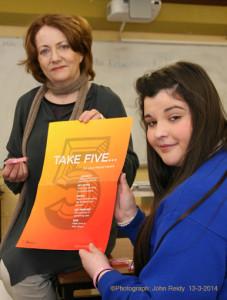 Castleisland Community College Take Five promoters, Noreen Barrett-Kissane, teacher and pupil, Rachel McDonnell.  Photograph: John Reidy 13-3-2014
