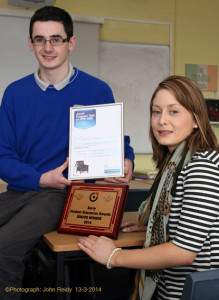 Castleisland Community College student, Christian Steinborn pictured with his teacher, Ms. O'Sullivan and the rewards to date of his inventive, productive mind. Photograph: John Reidy 13-3-2014