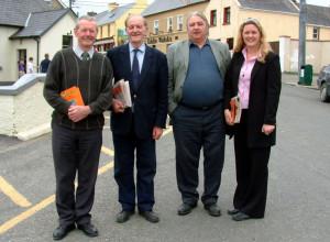Cllr. Toiréasa Ní Fhearaíosa pictured in Knocknagoshel with canvassers: Jerry Savage (left) and Brendy Bonn, Ballymacelligott and Tim Leahy, Brosna ahead of the Kerry County Council elections of 2004.  ©Photograph: John Reidy 14-5-2004