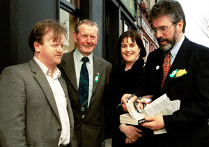 The late Jerry Savage (second from left) pictured with the late Mike Kenny, Castleisland  (left) Lilian Bonn, Ballymacelligott  and Sinn Fein President, Gerry Adams during his visit to Castleisland in 2002. Photograph: John Reidy  21-3-2002