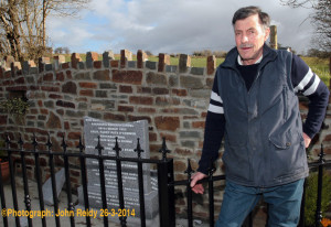 Organising committee chairman, Ben Brosnan pictured at the site of the smashed memorial at Talbot's Bridge, Knocknagoshel on Wednesday evening. ©Photograph: John Reidy 26-3-2014