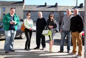 Ireland South, Sinn Féin candidate, Liadh Ní Riada (second from left) canvassing in Castleisland today with from left: John Breen, Denny McSweeney, Nancy O'Connor, Timmy O'Connor and Sinn Féin local election election, Killarney area candidate, John Buckley. Griangraf: Seán Ó Riada / Photograph: John Reidy 15-3-2014