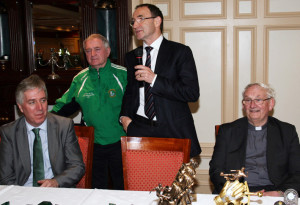 Republic of Ireland Soccer team manager, Martin O'Neill speaking at the River Island Hotel on Friday. Included are: FAI Chief Executive Officer, John Delaney, Georgie O'Callaghan of the host club nd Monsignor Dan O'Riordan PP Castleisland.  ©Photograph: John Reidy 21-3-2014