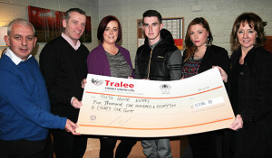 Pieta House founder and CEO, Joan Freeman (right) receiving a donation of its remaining funds from the Tralee based and winding down, Open Arms Project at the NEKD buildings in Castleisland last week. Included are: Johnny Togher and Kieran O'Brien, Pieta House; Catríona Locke, John O'Brien and Charelle Kinsella-Connolly, Open Arms Project. ©Photograph:John Reidy