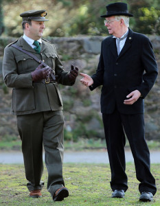 Dev and Collins having words: Castleisland father and son Tommy and Joe Joe Martin playing Michael Collins and Éamon De Valera pictured in rehearsals for The Revolutionary Decade Roadshow at The Schoolhouse, Muckross Traditional Farms, Muckross House, Killarney, on this Saturday March 29th-2014 from10.30am to 3.00pm. Deputy Jimmy Deenihan, Minister for Arts, Culture and The Gaeltacht will offically open the event at 10.30am. Photograph: Valerie O'Sullivan