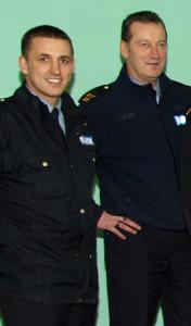 They saved the day: Garda Ronan Coleman (left) and Sgt. John O'Mahony who provided an escort for Martin O'Neill. ©Photograph: John Reidy