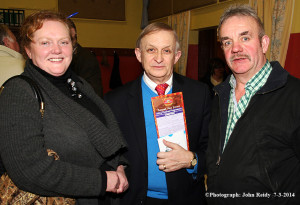 Nicholas Carolan, Director of the  Irish Traditional Music Archive and TG4 Siar an Bóthar presenter pictured with Scartaglin Rambling House organising committee members: Bridie Garvey and Tom O'Connor at the Sliabh Luachra Music Trail launch in Ballydesmond on Friday night. ©Photograph: John Reid