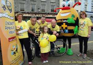 Another Team Tom McCarthy's facing up to their biggest challenge on The Longest Day with Mr. Bumble. Included are: Front: Maira Greaney with from left: Eileen Greaney, Gerry Fagan, Tom McCarthy, Denny Greaney and Georgina Fagan. Photograph: John Reidy 14-3-2014