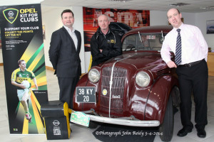 Paul Ahern, MD Ahern's Opel / BMW (left) pictured with Paul Horan and John Cronin as they prepare for Saturday's Opel/Vauxhall Owners' Club gathering at their Tralee Road, Castleisland showrooms from 11am to 4pm. Photograph: John Reidy  3-4-2014