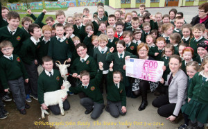 Great excitement at Scartaglin National School on Thursday as teacher Eileen O'Connor (right) and Bóthar representative, Breda Bucke supervise the presentation of two goats to the charity. ©Photograph: John Reidy 3-4-2014