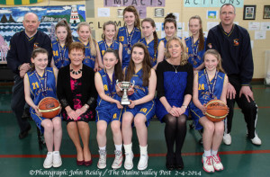 The Castleisland Community College team which won the inaugural, Basketball Ireland All-Ireland Schools Cup at the National Basketball Arena in Tallaght on Wednesday. Included are front from left:  Laura Fleming, Anne O'Sullivan, principal; Nicole Downey and Maebh Young, joint captains; Teresa Lonergan, deputy principal and Saoirse Murphy. Back row from left:  Denny Porter, coach; Shauna Ahern, Sarah O'Sullivan, Dannielle Reidy, Labhaoise Walmsley, Julieanne O'Connor, Siobhan Collins, Aisling O'Connell and Maurice Casey, assistant coach.  ©Photograph: John Reidy 3-4-2014