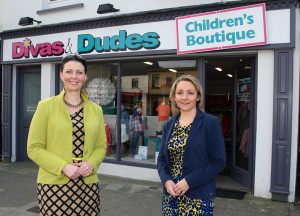 Denise Bourke (left) and Lisa Geaney pictured outside the Castleisland 'Divas & Dudes' of which they are launching a branch in Castle Street, Tralee with a reception this evening from 6pm to 9pm.  ©Photograph: John Reidy The Maine Valley Post