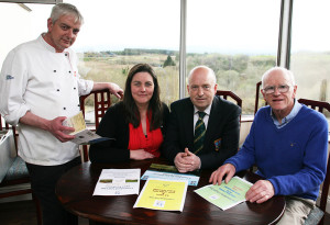 Aidan and Mairéad Guirey pictured with club captain, John O'Connell and Ciaran Fleming as they planned for the Easter Golf Club Fundraising Weekend at the Castleisland club on Friday. ©Photograph:  John Reidy