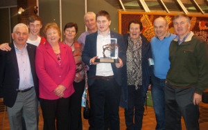 TG4 Gradam Ceoil Young Musician of the Year award winner, Bryan O'Leary the the TG4 Gradam Ceoil awards ceremony at UL on Saturday night.  Brian is pictured with his dad, Bertie (left) with: Darragh Curtin, Margaret O'Leary, Sheila O'Leary, Con and Julia O'Connor, Peter Browne and Tom O'Leary.