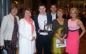 TG4 Gradam Ceoil Young Musician of the Year award winner, Bryan O'Leary  flanked by his God-mother, ??? ??? , aunt, Ellen Healy brother Barry, mom, Maureen and sister, Ailish at the awards ceremony at UL on Saturday night. Photograph Courtesy of Peter Browne.