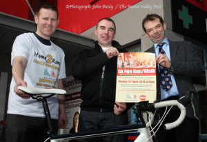 Kerry Hospice Foundation Castleisland area fundraising committee chairman, Jack Shanahan (right) pictured with Tony Galwey (left) and Maurice Brosnan at the announcement of details of the hospice supporting 5K Fun-Run/ Walk in Castleisland on Sunday, April 13th at 11am. ©Photograph: John Reidy