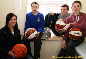 KDYS Youth Worker, Helena Falvey pictured with members: Dominic Prendiville, Darren Maunsell and Jack Flynn at the announcement of details of the KDYS / An Garda Siochána Good Friday Basketball Blitz. ©Photograph: John Reidy 3-4-2014