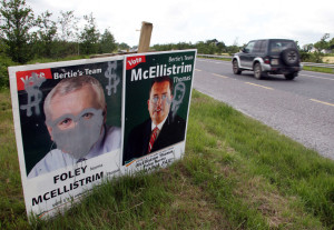 Images of then Taoiseach Bertie Ahern and local TD Thomas McEllistrim got the treatment in Ballymacelligott on election night 2007.  Photograph: John Reidy 25/05/2007
