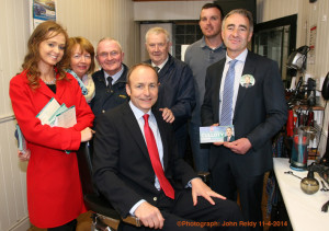 Safe Seat: Fíanna Fáil leader, Micheal Martin, TD pictured with his local election candidates, Anne McEllistrim (left) and John Joe Culloty at Brennan's Barbers on Friday. Included are: Kathleen O'Connor, Jamsie O'Callaghan and Thomas and John Brennan.   ©Photograph: John Reidy 11-4-2014