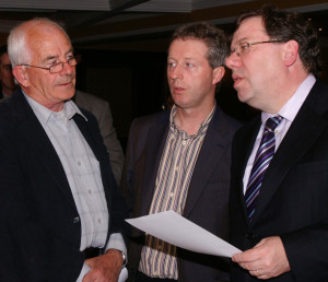 The Good Old Days: North and East Kerry Development (then chairman) Pat Mitchell (left) and CEO, Eamonn O'Reilly making their points to Taoiseach Brian Cowen at The Listowel Arms Hotel in May 2009. They will continue their fight for the survival of the NEKD at the River Island Hotel at a public meeting at 8pm tonight, Tuesday, April 15th. ©Photograph: John Reidy 18-5-2009
