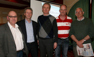 At the NEKD support meeting at the River Island Hotel in Castleisland were from left: Tom Farrelly, Eamonn O'Reilly, CEO NEKD; Seán Linnane, Paul McKeown and Pat Mitchell. Photograph: John Reidy 15-4-2014