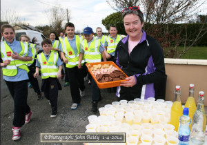 Community activist, Nora Fealey pictured at the gate of her house with a regular treat table for the children of Kilmurry National School during one of their walks on Tuesday in preparation for Friday evening's 5K. ©Photograph: John Reidy 1-4-2014