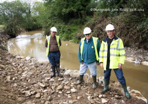 Dr. Martin O'Grady of the Central Fisheries Board (centre) with staff members, Seamus Faulds (left) and Mike Daly pictured during work on the Shanowen River at Tullig in August 2011. The Shanowen is a tributary of The Maine and they meet just beside The Crageens Bridge. ©Photograph: John Reidy  31-8-2011
