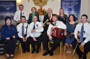 A Special Day at the Áras: Members of the Shannon Vale Céilí Band who played as invited guests of President Michael D Higgins and his wife Sabina at Áras an Uachtaráin on St. Patrick's Day. Included are: Seated: Marianne Browne, Joe O'Sullivan, Michael Collins, Danny O'Mahony, band leader; Sheila Garrey and Colm Kissane. Back row: John Collins, Sabina and President Michael D. Higgins and Patsy Broderick. Photograph Courtesy of Áras an Uachtaráin