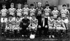 Our 'Friday Favourite' this week concerns members of the Castleisland FC Youth team in a specially convened photograph to reveal their new Ahern's Opel strip in 1989. How many of the players can you name ?