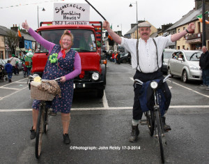 Scartaglin Rambling House team members, Bridie Garvey and Tom O'Connor pictured at last month's St. Patrick's Day Parade in Castleisland. ©Photograph: John Reidy 17-3-2014