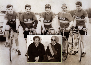 The Desmonds Cycling Team which competed in the two-day Rás Laigheann Cycle Race in Dublin in April 1964. Pictured on the old airport road are from left: Johnny Brosnan, Eamonn Breen, John Joe O'Connor, Brendan Brosnan and the late, Johnny Drumm. Inset: Eamonn Breen (left) pictured on a visit to Johnny Drumm song composer, Jackie Hartnett at his home in Abbeyfeale.  Photo by John Reidy (inset) main photo courtesy of Eamonn Breen.