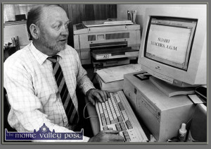 The late Jim Murphy, Knocknagoshel pictured in the 'Community Information Office' at Knocknagoshel Community Centre after he was elected to the chair of the Sliabh Luachra Rural Development Group during the summer of 1999. ©Photograph: John Reidy 26-6-1999