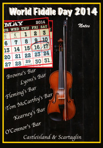 World Fiddle Day to be celebrated in Castleisland and Scartaglin on May 16th & 17th. Graphics: John Reidy